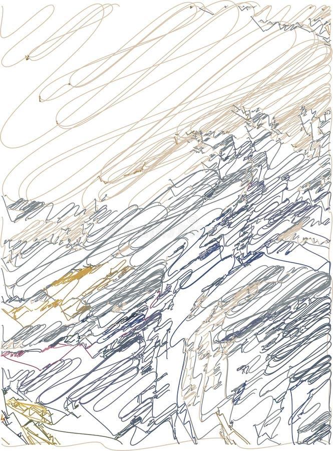 Fondo art?stico abstracto con transiciones del color de ocre a azul-gris con el uso de elementos decorativos en el estilo de la h ilustración del vector