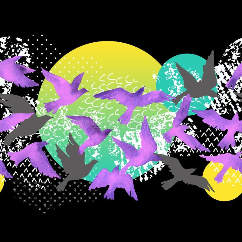 Fondo artistico dell'acquerello: siluette dell'uccello di volo, forme fluide riempite di minimo, lerciume, strutture di scarabocc royalty illustrazione gratis