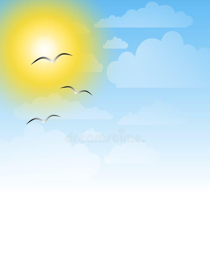 Fondo asoleado del cielo de las gaviotas ilustración del vector