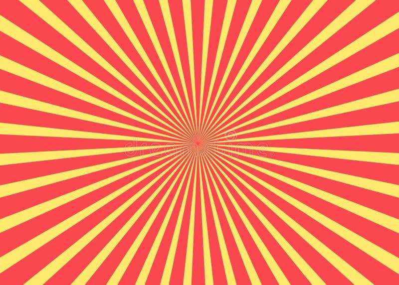 Fondo asoleado Modelo del sol naciente Ejemplo abstracto de la raya Fondo soleado del resplandor solar Modelo del sol naciente Ve foto de archivo libre de regalías