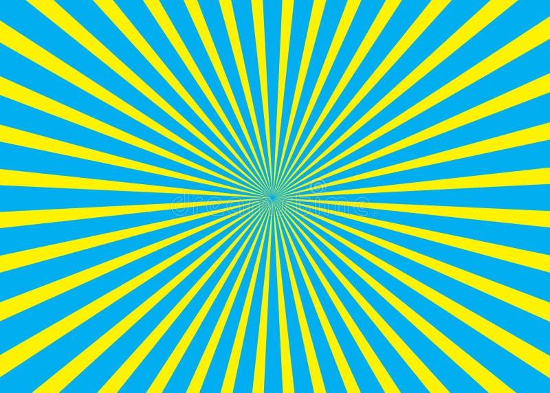 Fondo asoleado Modelo del sol naciente Ejemplo del extracto de la raya del vector imágenes de archivo libres de regalías