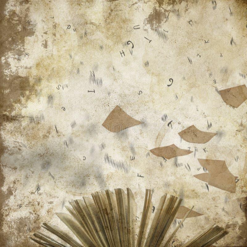 Fondo astratto afflitto del collage - volo incarta - lettere - scrittura - album per ritagli illustrazione vettoriale
