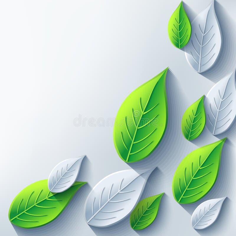 Fondo astratto alla moda con 3d grigio e verde illustrazione vettoriale