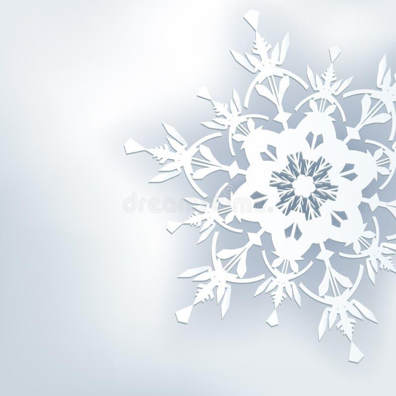 Fondo astratto alla moda, fiocco di neve decorato 3d illustrazione vettoriale