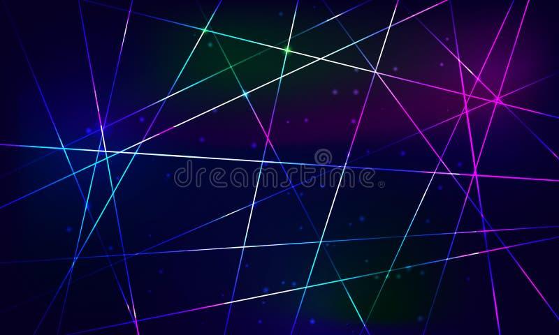 Fondo astratto blu brillante Raggi d'attraversamento illustrazione vettoriale