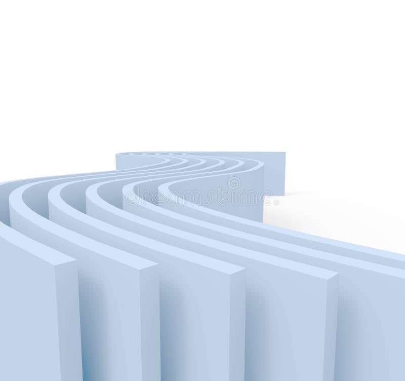 Fondo astratto blu di architettura con la parete curva ill 3d royalty illustrazione gratis