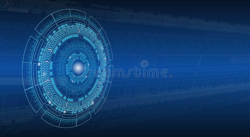 Fondo astratto blu di prospettiva di tecnologia di Ciao-tecnologia illustrazione di stock