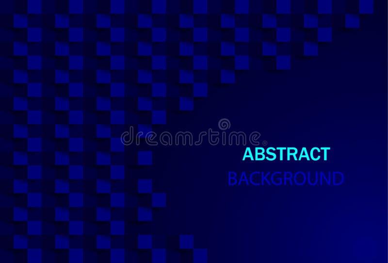 Fondo astratto blu scuro con struttura geometrica Fondo moderno di architettura Quadrato geometrico creativo per il sito Web Vett illustrazione di stock