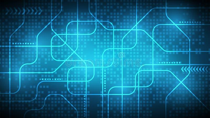 Fondo astratto blu scuro di tecnologia o digitale, linea o del laser illustrazione vettoriale