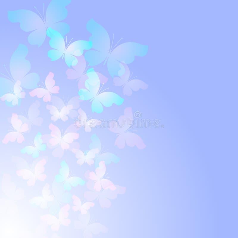 Fondo astratto blu tenero con le farfalle trasparenti illustrazione di stock