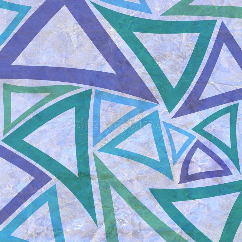 Fondo astratto con gli elementi geometrici del triangolo in verde e blu porpora su vecchio Libro Bianco sgualcito fotografia stock libera da diritti