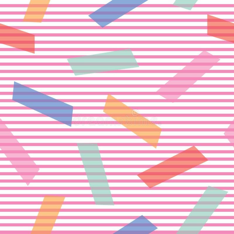 Fondo astratto con i blocchetti di colore sul modello geometrico decorativo di vettore senza cuciture sottile delle bande illustrazione di stock