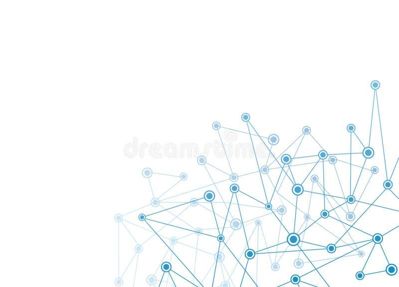 Fondo astratto con i punti e la rete blu  illustrazione di stock