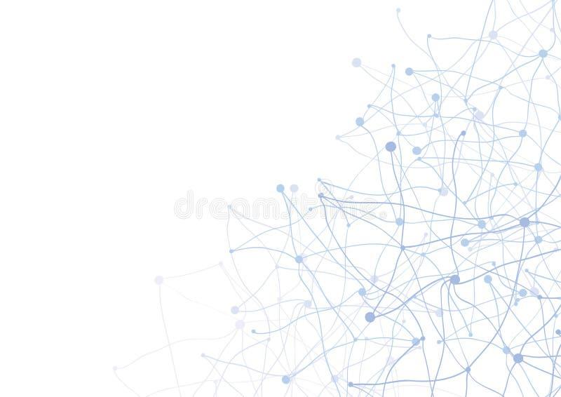 Fondo astratto con i punti e la rete blu  illustrazione vettoriale