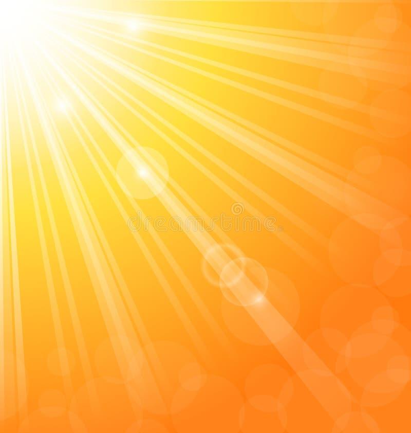 Fondo astratto con i raggi luminosi del sole illustrazione vettoriale