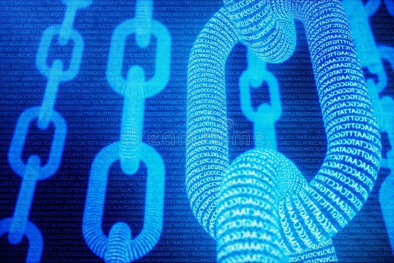 Fondo astratto con il concetto a catena Blockchain medico Coppie di basi Blockchain del DNA Adenina, timina, citosina e illustrazione vettoriale