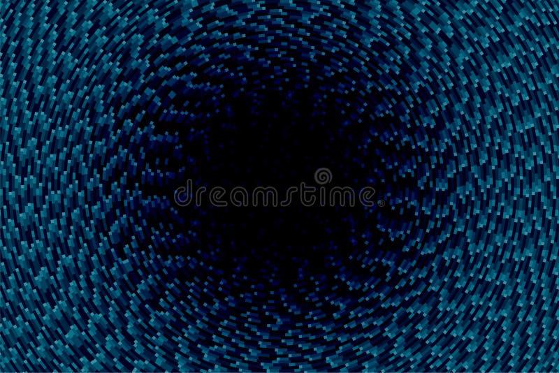 Fondo astratto con il pixel blu intorno al cerchio scuro royalty illustrazione gratis