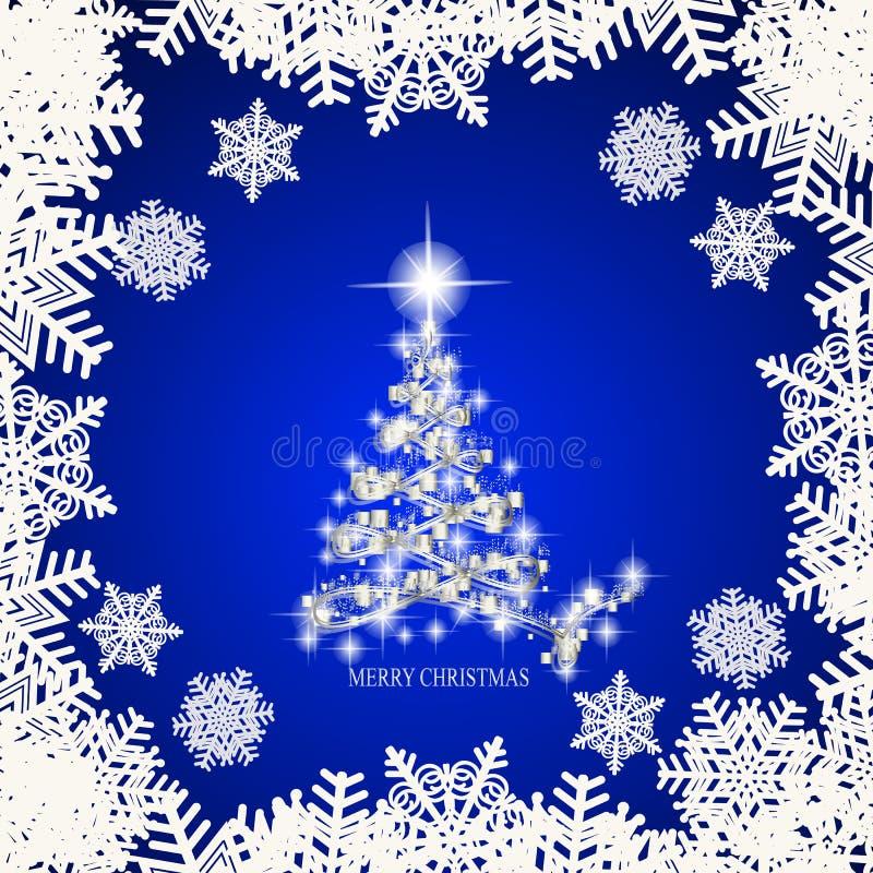 Fondo astratto con l'albero, i fiocchi di neve e le stelle di natale bianco Illustrazione nei colori blu e bianchi Vettore illustrazione vettoriale