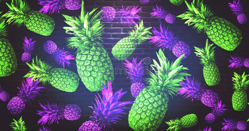 Fondo astratto con l'ananas illustrazione di stock