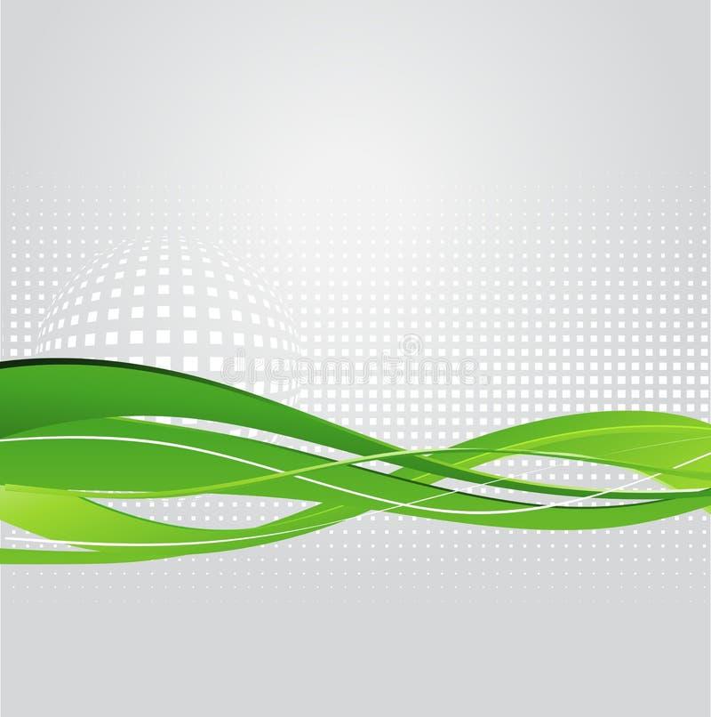 Fondo astratto con l'onda verde illustrazione vettoriale