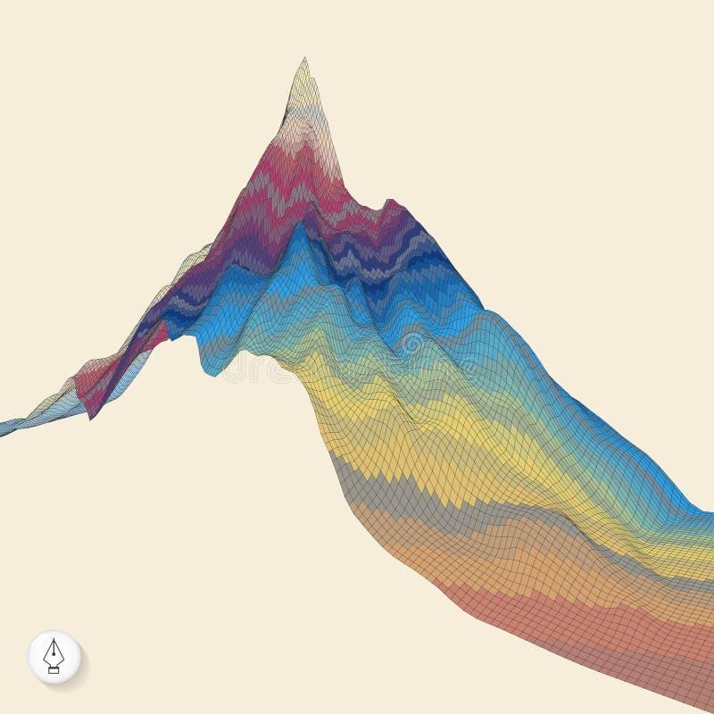 Fondo astratto con la montagna mosaico illustrazione di stock