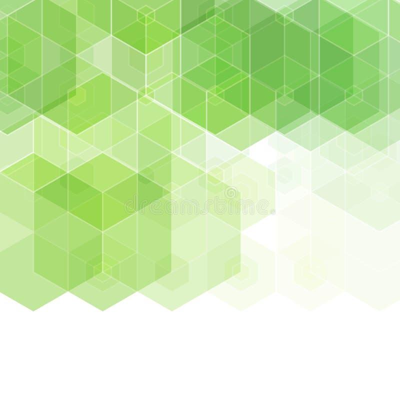 Fondo astratto con le forme esagonali verdi ENV 10 illustrazione di stock