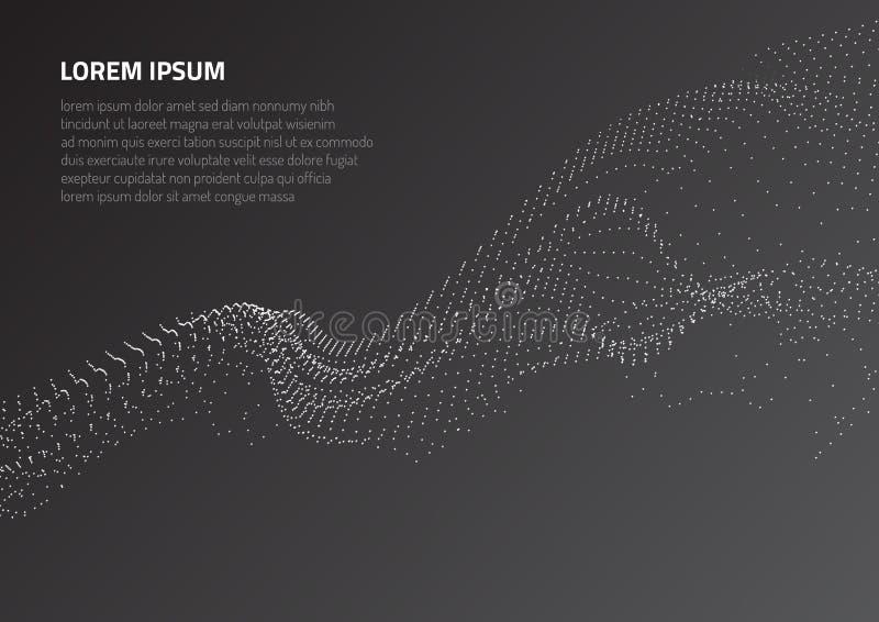 Fondo astratto con le forme volumetriche di particelle Oscillazione della particella e moto delle onde nello spazio illustrazione vettoriale