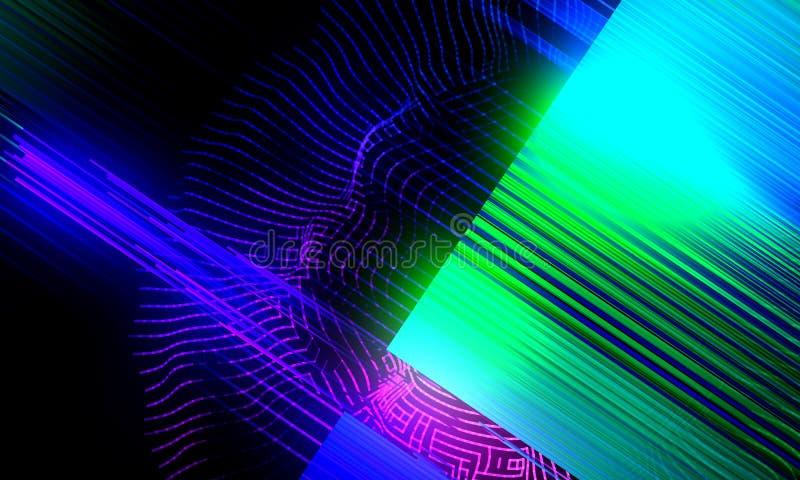 Fondo astratto con le linee di colore di pendenza e griglia con incandescenza illustrazione di stock