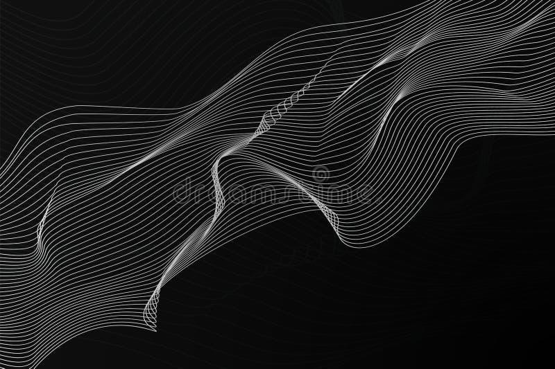 Fondo astratto con le onde lineari dinamiche Linee elemento stilizzate per progettazione illustrazione vettoriale
