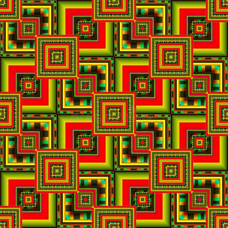 Fondo astratto con oro ed i quadrati rossi immagini stock