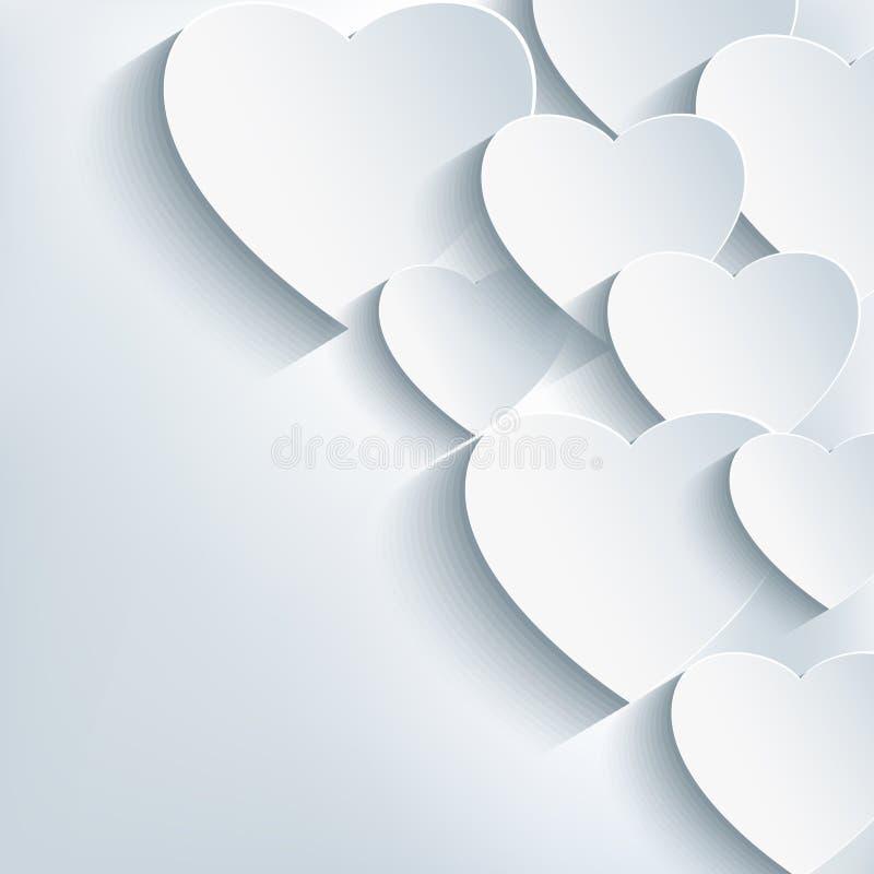Fondo astratto creativo alla moda, cuore 3d illustrazione vettoriale