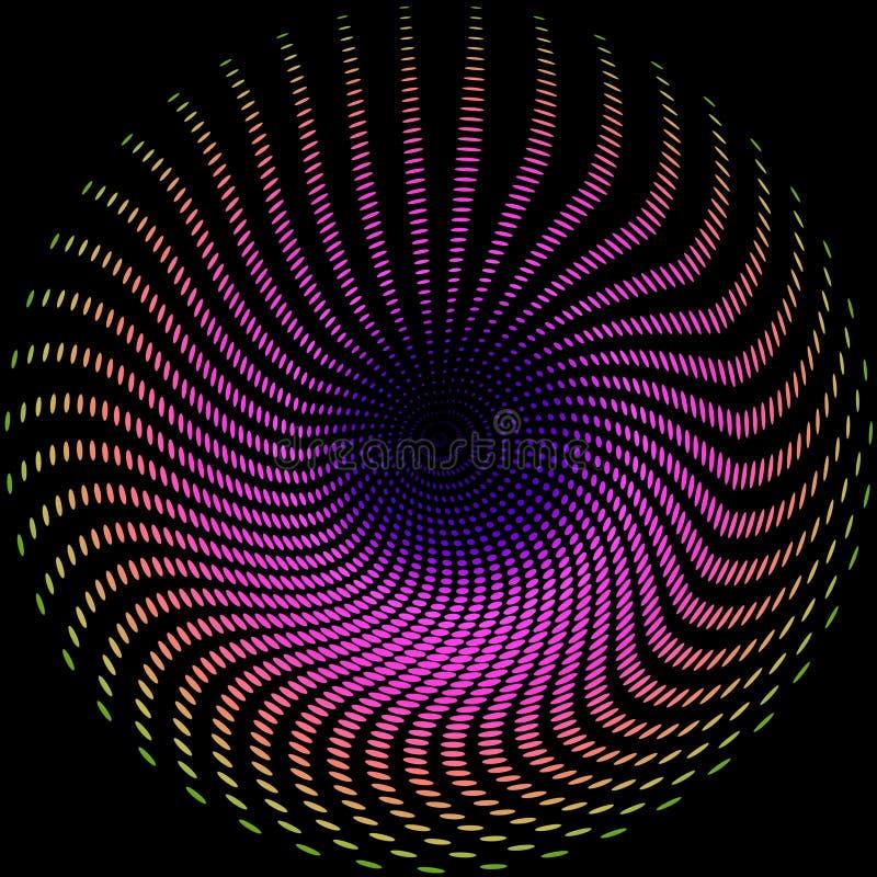 Fondo astratto d'ardore del neon multicolore Effetto di turbinio Stile psichedelico di clubbing Illustrazione festiva moderna illustrazione vettoriale