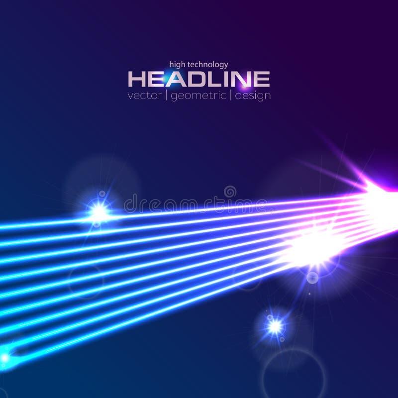 fondo astratto dei raggi al neon futuristici del laser di Ciao-tecnologia illustrazione vettoriale