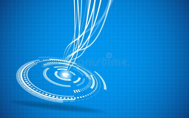 Fondo astratto del blu di ciao-tecnologia illustrazione vettoriale