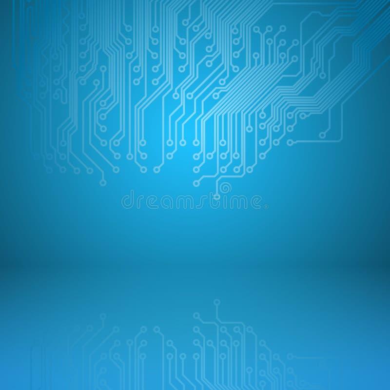 Fondo astratto del blu di elettronica illustrazione vettoriale