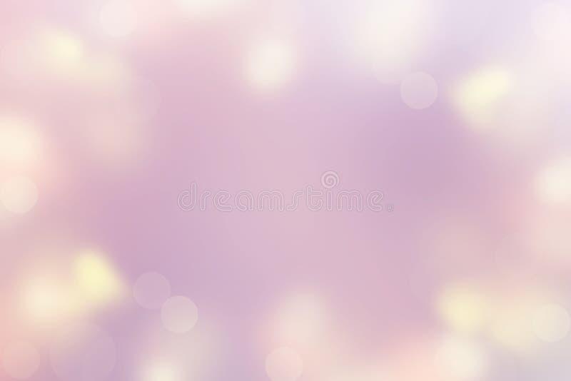 Fondo astratto del Buon Natale pastello Defocused e del buon anno rosa di colore di luce del punto, porpora, gialli Valentine fotografie stock