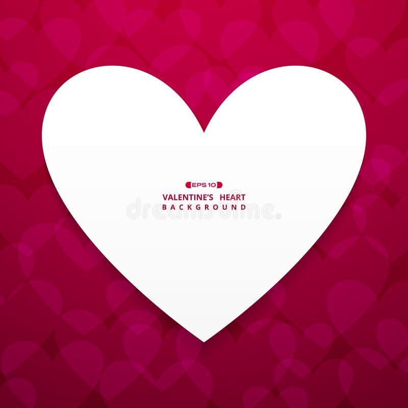 Fondo astratto del centro bianco del cuore dello spazio sul fondo rosso della pendenza del biglietto di S. Valentino royalty illustrazione gratis