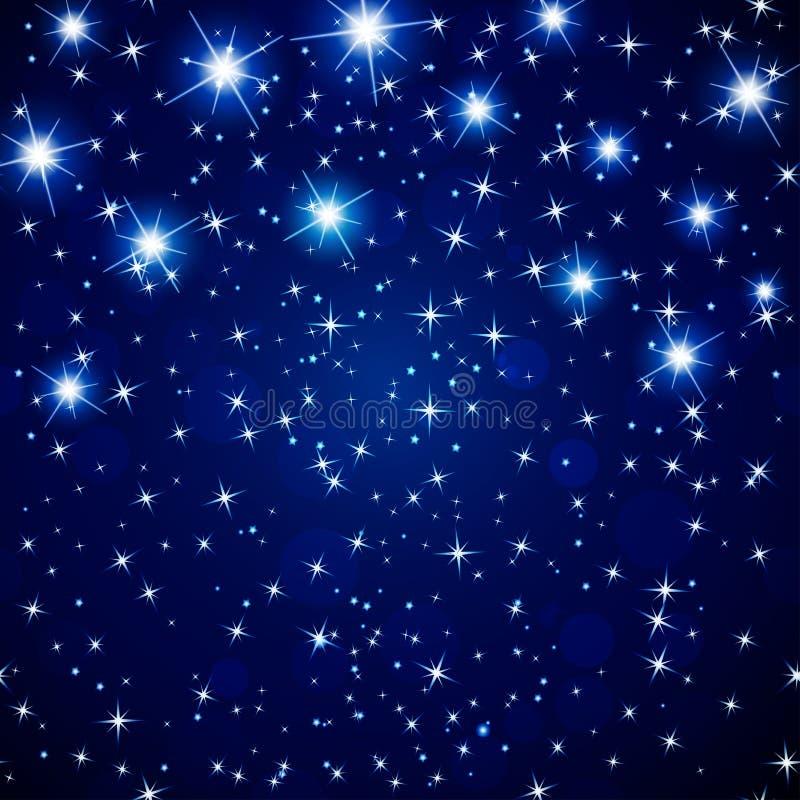 Fondo astratto del cielo notturno dell'universo con le stelle d'ardore Vettore royalty illustrazione gratis