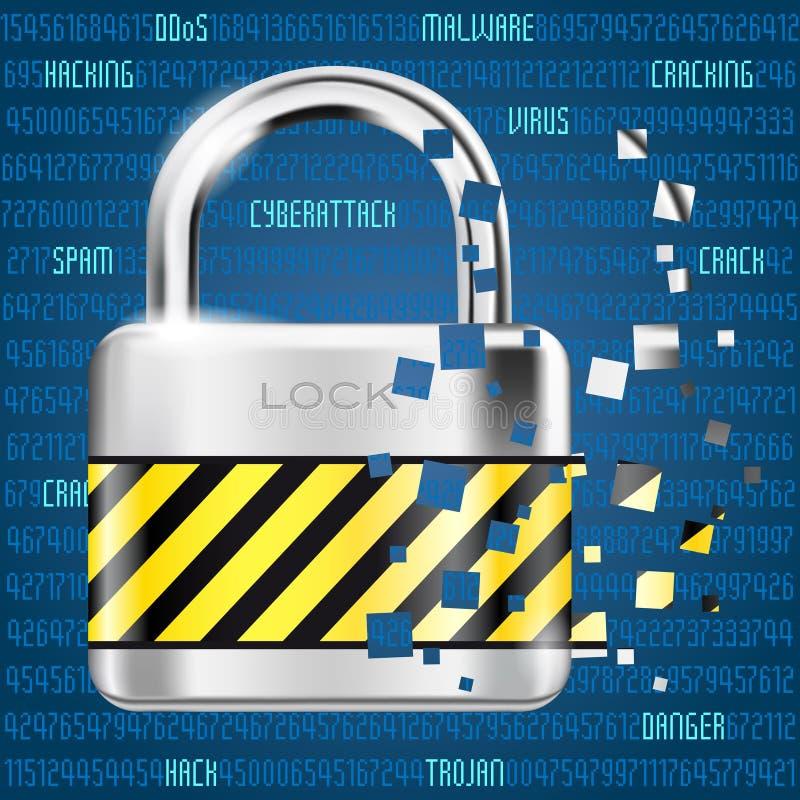 Fondo astratto del computer con il codice e la serratura - il pericolo di cybe illustrazione di stock