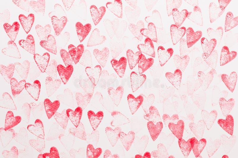 Fondo astratto del cuore dell'acquerello Amore di concetto, cartolina d'auguri di giorno di S. Valentino fotografie stock libere da diritti