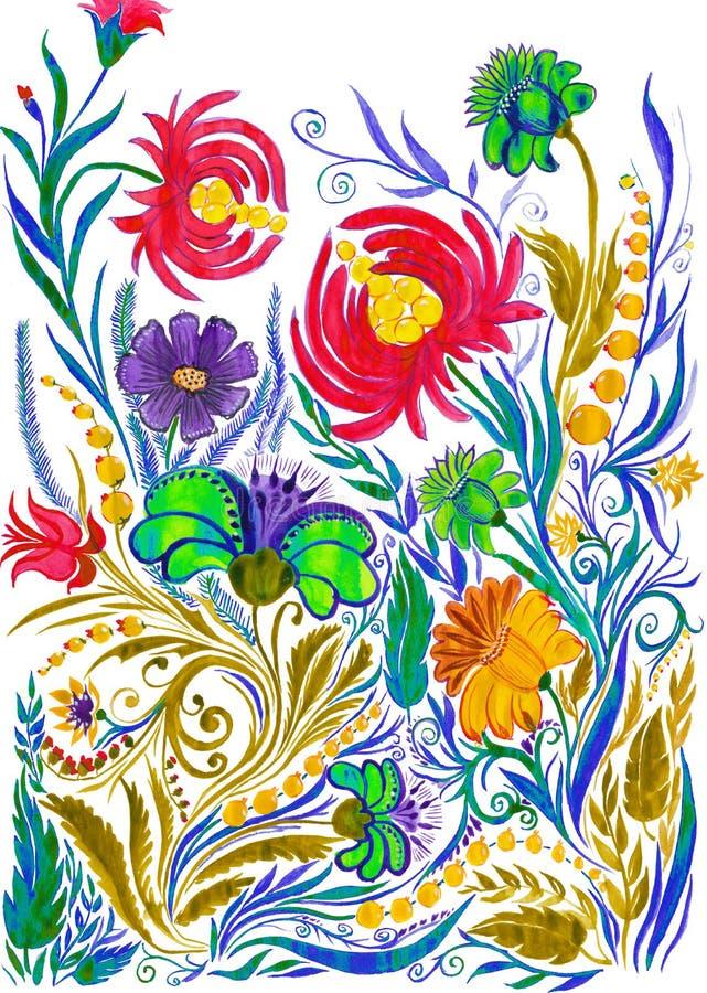 Fondo astratto del fiore, acquerello che attinge carta fotografia stock libera da diritti