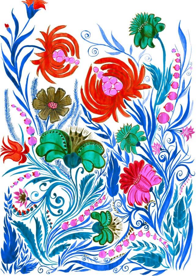 Fondo astratto del fiore, acquerello che attinge carta immagini stock