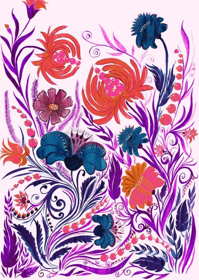 Fondo astratto del fiore, acquerello che attinge carta immagine stock