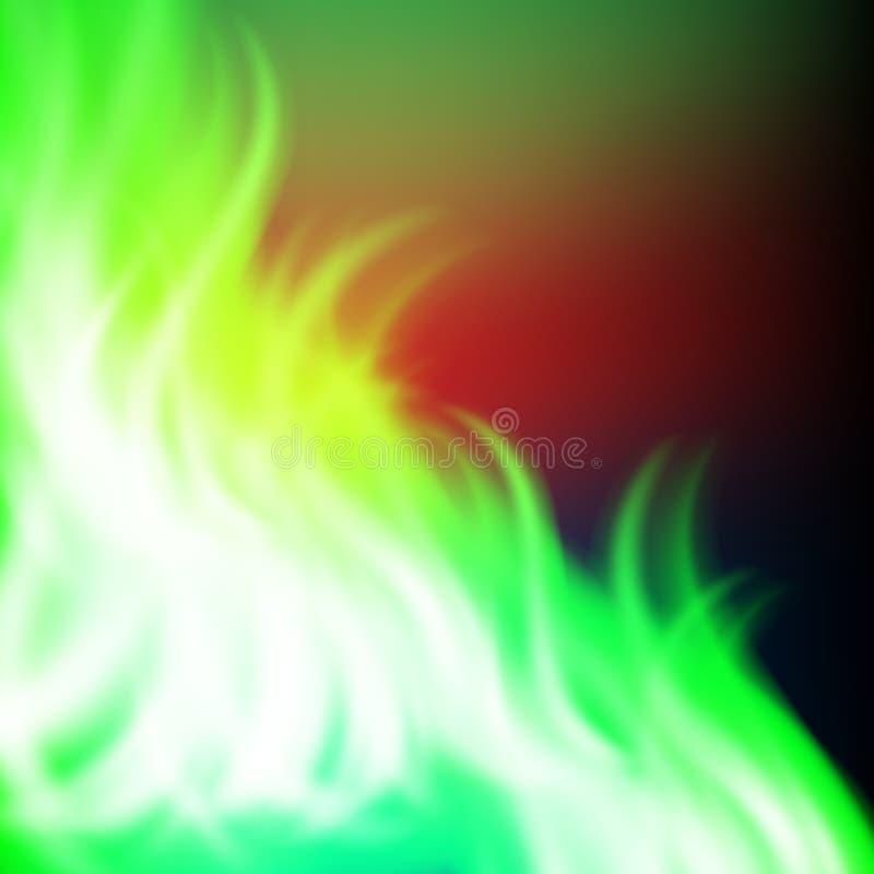 Fondo astratto del fuoco di verde dell'arcobaleno illustrazione vettoriale
