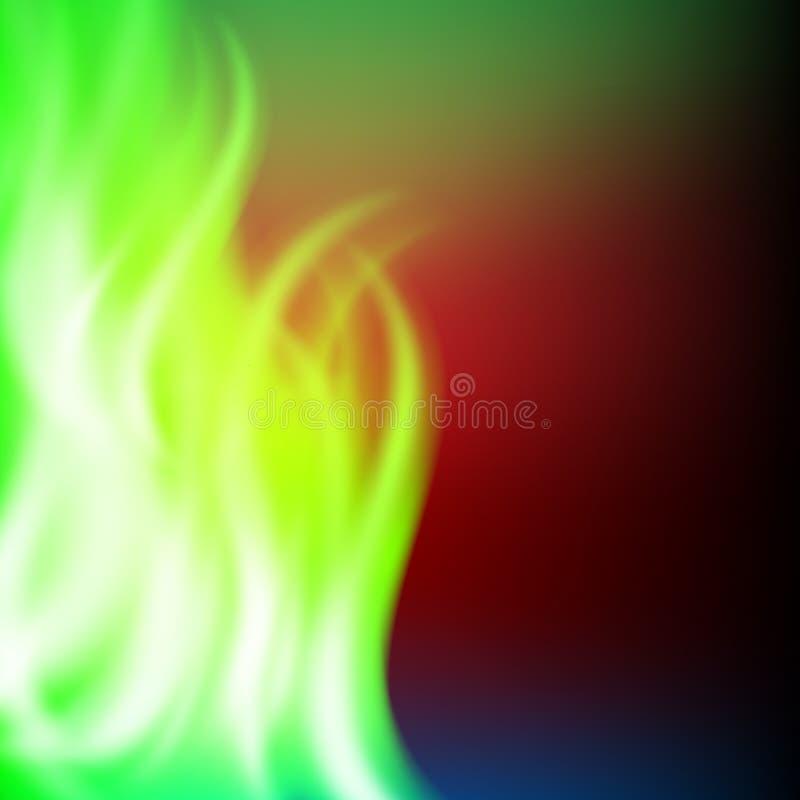 Fondo astratto del fuoco di verde dell'arcobaleno illustrazione di stock