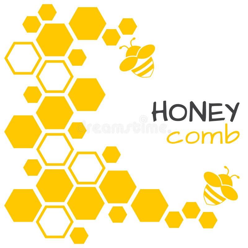 Fondo astratto del miele con il favo e l'ape Illustrazione di vettore illustrazione di stock