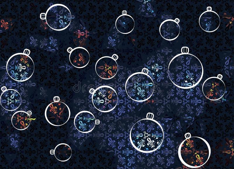 Fondo astratto del nuovo anno di Natale con i giocattoli dell'albero di Natale illustrazione vettoriale