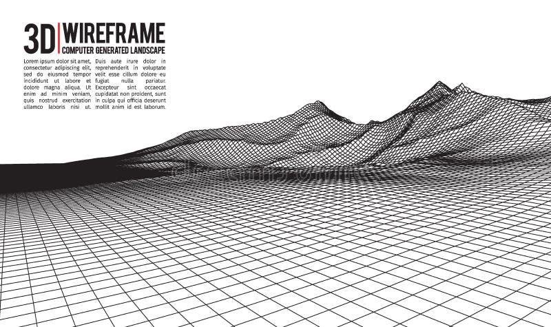 Fondo astratto del paesaggio del wireframe di vettore Griglia del Cyberspace illustrazione di vettore del wireframe di tecnologia illustrazione di stock