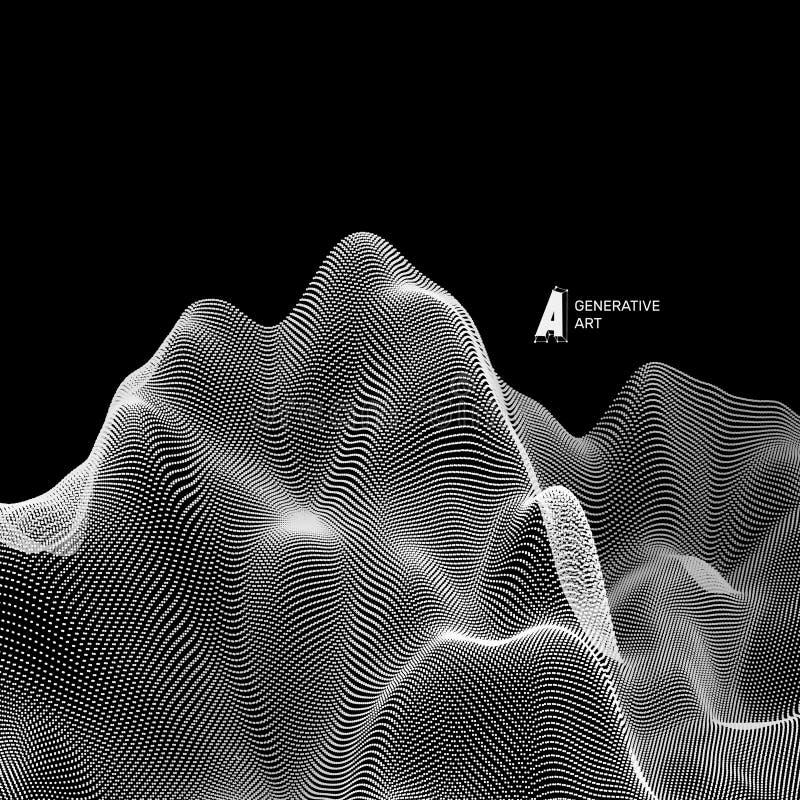 Fondo astratto del paesaggio di vettore Griglia del Cyberspace illustrazione di vettore di tecnologia 3d illustrazione di stock