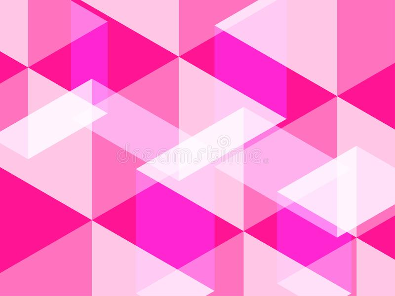 Fondo astratto del poligono e di esagono nel colore rosa rosa o caldo di plastica fotografia stock